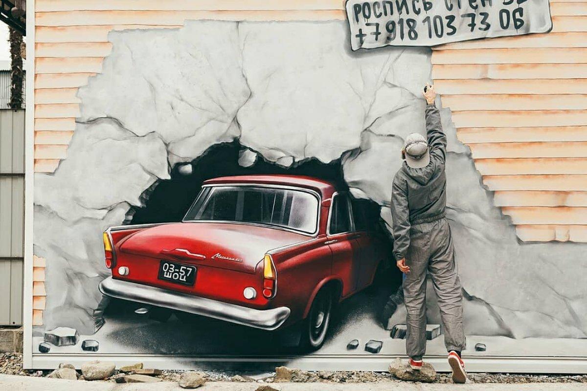 """В центре Сочи появился необычный стрит-арт, изображающий """"Москвич-412"""""""