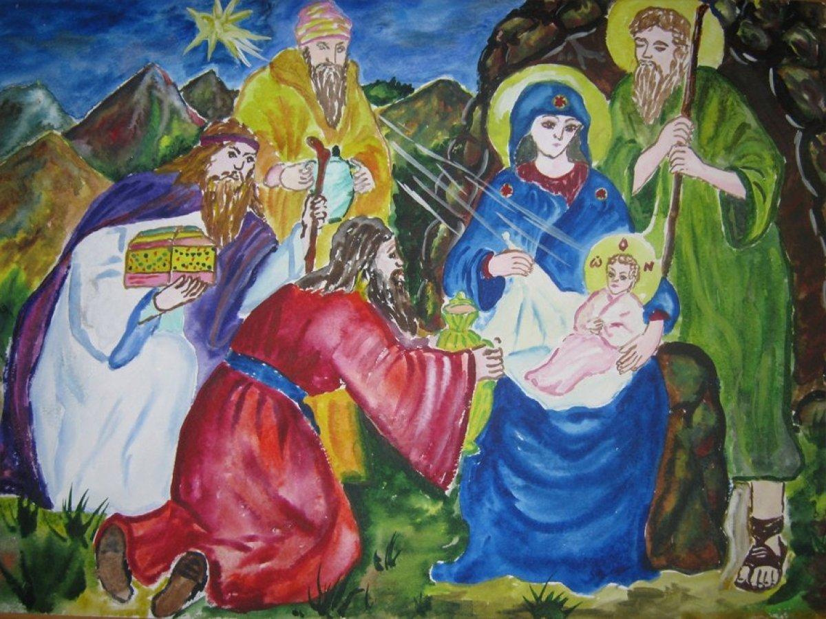 Рисунок к рождеству христову, знака зодиака