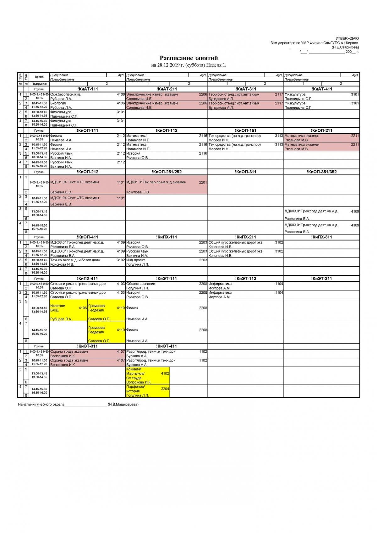 Расписание для студентов очного отделения