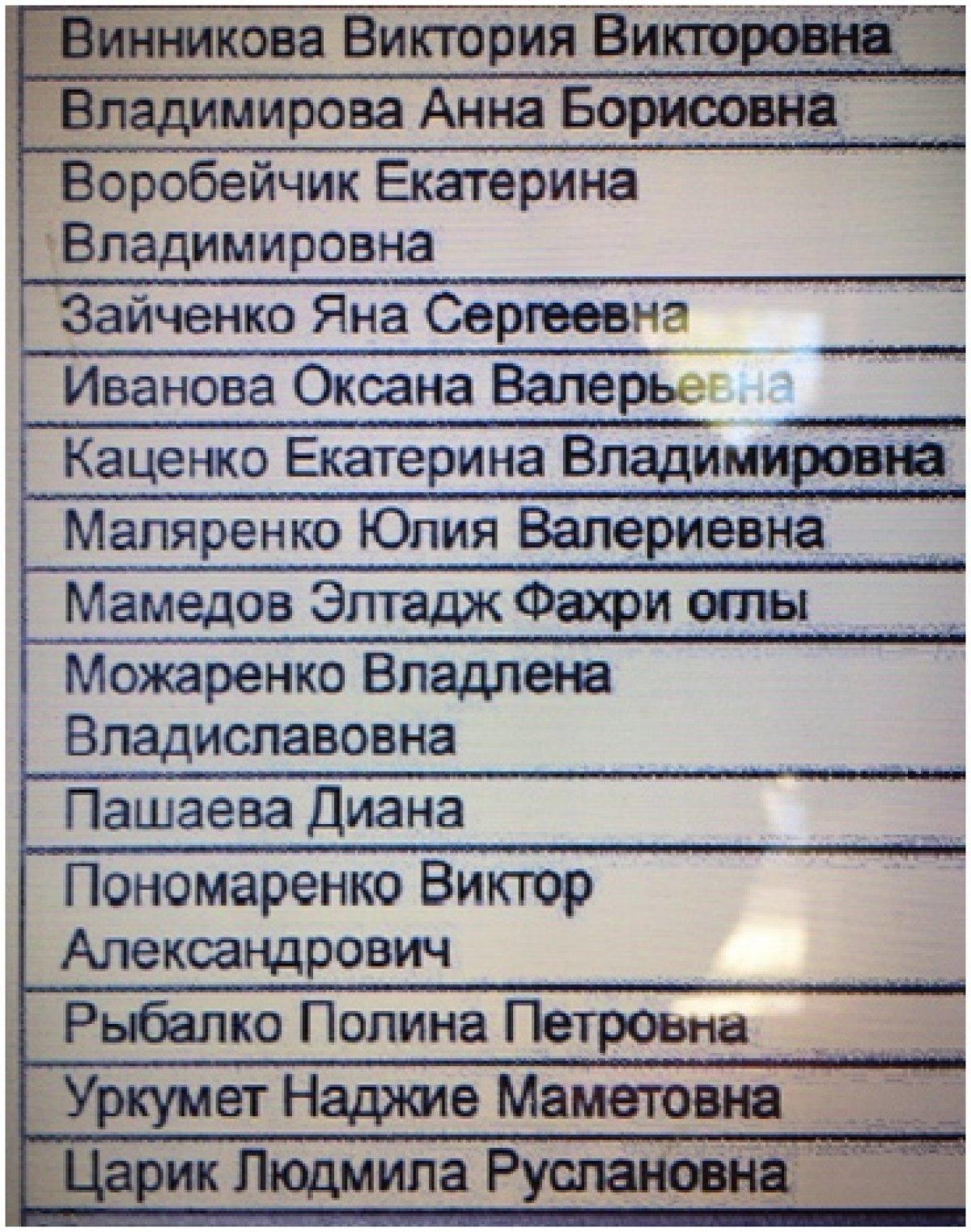 Уважаемые студенты выпускного курса из списка ниже. Просим вас прислать на businesscrimea@mail.ru фото платежек оплаты за последний семестр (15.000 на московские реквизиты), так как ваша оплата прошла по банку лишь частично